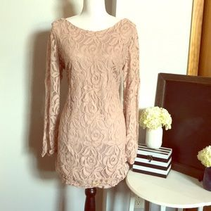 Vintage blush pink lace dress